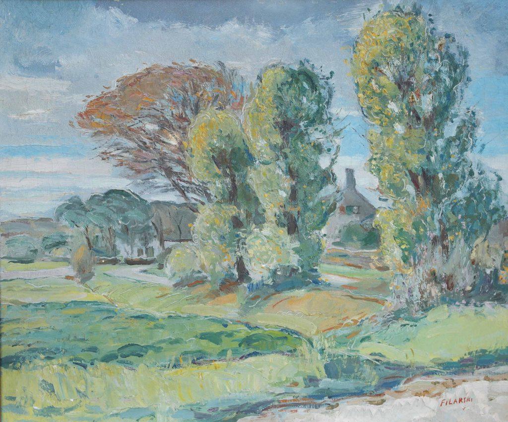 Dirk Filarski Bergen olieverfschilderij
